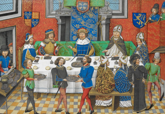 John_of_Gaunt,_Duke_of_Lancaster_dining_with_the_King_of_Portugal_-_Chronique_d'_Angleterre_(Volume_III)_(late_15th_C),_f.244v_-_BL_Royal_MS_14_E_IV.png
