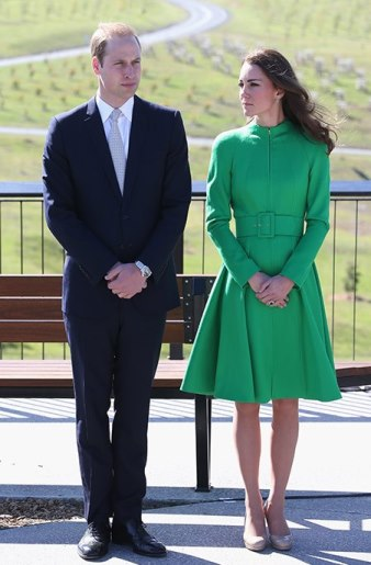 The Duke and Duchess of Cambridge in emerald green Catherine Walker coat dress in Canberra.jpg