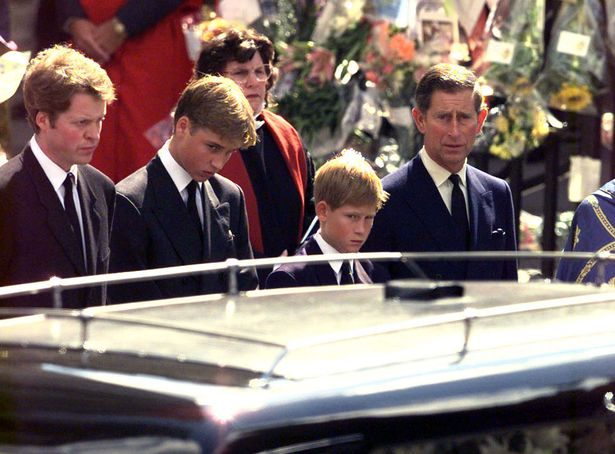 Earl Spencer, Prince William, Prince Harry and Prince Charles watch  as the coffin containing the body of Princess Diana is driven away from Westminster Abbey.jpg