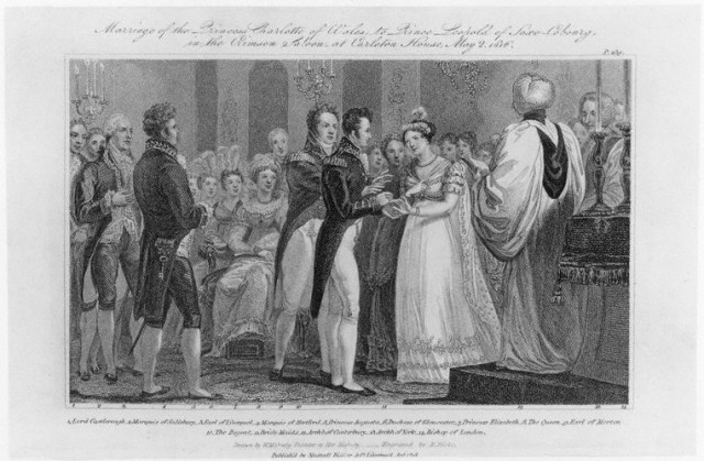 NPG D16053,'Marriage of the Princess Charlotte of Wales to Prince Leopold of Saxe-Cobourg, in the Crimson Saloon, at Carleton House, May 2 1816',by; published by; after Robert Hicks; Nuttall, Fisher & Dixon; William Marshall Craig