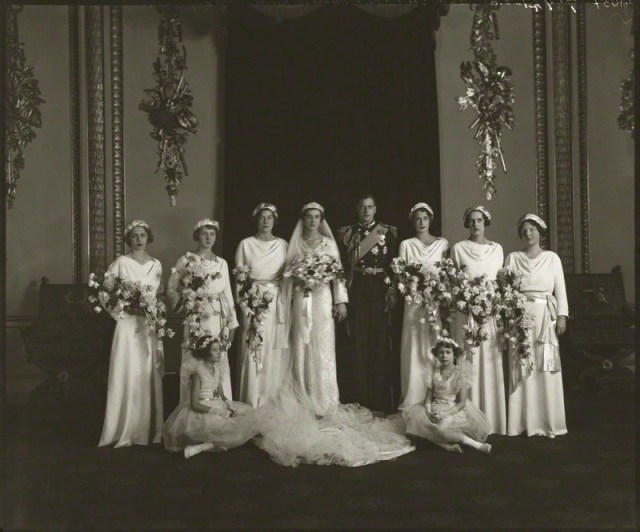 NPG x95788; The wedding of Prince George, Duke of Kent and Princess Marina, Duchess of Kent by Bassano