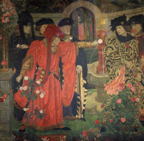 Payne, Henry Arthur, 1868-1940; Plucking the Red and White Roses in the Old Temple Gardens