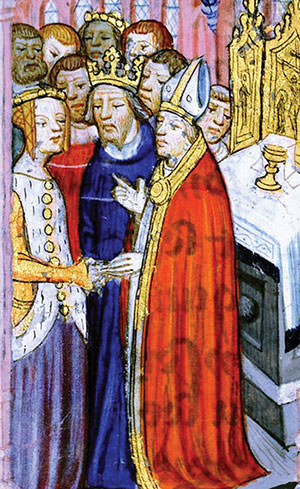 Pintura medieval que il·lustra el divorci de Luis VII i Elionor d'Aquitania.