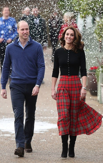 Red Plaid Emilia Wickstead Skirt & Broras Cardigan