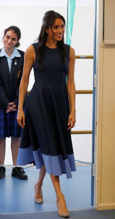 blue colorblocked roksanda dress